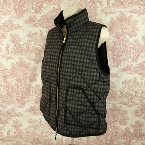 J. Crew Vest Size L Quilted Puffer Plaid Down